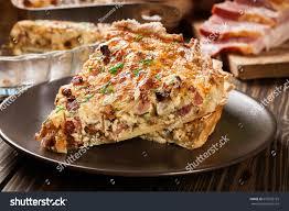 cuisine quiche lorraine pieces quiche lorraine bacon cheese stock photo 670502125