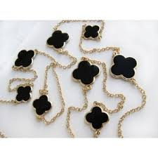 clover leaf necklace images Four leaf clover flower necklace black enamel smooth round out=j