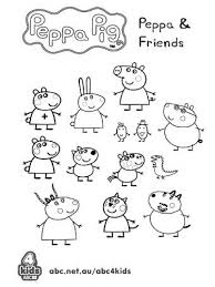 peppa pig friends free preschool coloring printable