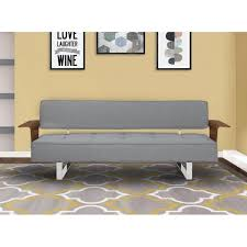 living taft mid century convertible futon in gray tufted fabric