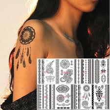 black lace temporary henna feather butterfly elepant design