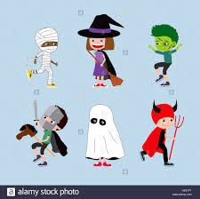 halloween kids set of cartoon children in costumes mummy witch