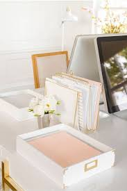 peach and gold office stationery follow us for more home office ideas