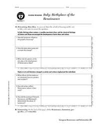 italy birthplace of the renaissance 9th 10th grade worksheet
