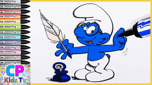 brainy smurf from smurfs coloring pages for kids 7 smurfs