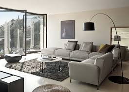 modern minimalist living room design with grey l shaped couch with