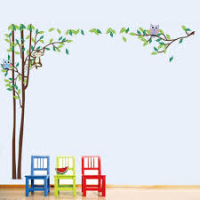 jungle animals cartoon promotion shop for promotional jungle cute cartoon jungle animal owl monkey trees wall decals removable pvc wall sticker for kids room art decoration home diy 90 60cm