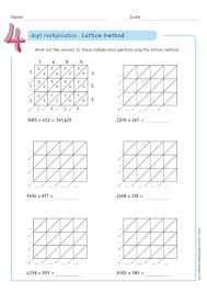 lattice method multiplication examples worksheets u0026 test