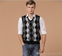 2017 cashmere men diamond plaid sleeveless sweater v neck argyle
