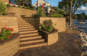 keystone retaining wall systems transform lakeside backyard