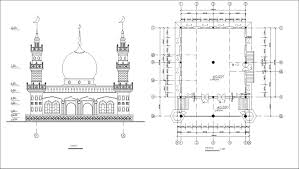 mosque floor plan mosque drawings cad blocks free