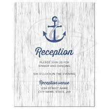 Wedding Invitation Insert Cards Nautical Anchor On Rustic Wood Wedding Reception Insert Card
