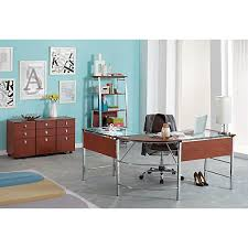 Office Depot Computer Furniture by Realspace Mezza L Shaped Glass Computer Desk 30 H X 61 12 W X 61