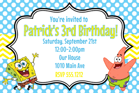 Invitation Cards Maker Spongebob Squarepants Birthday Party Invitation Printable 4x6