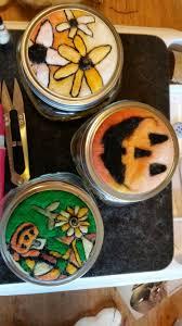 needle felted fall and halloween mason jar lids felt with
