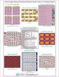 present tense question words 7 game 2 worksheet bundle esl fun games