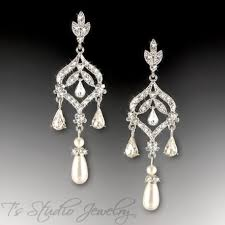 and pearl chandelier earrings ivory or white pearl bridal chandelier cz earrings