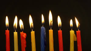 chanukah candles chanukah candles all in a row bright shiny multicolor candles for