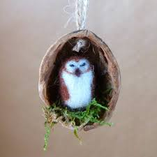 sleeping owl in a walnut shell needle felted ornament