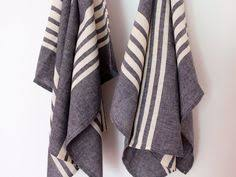 Organic Kitchen Towels - 2 organic kitchen towels tea towels striped dish by ontherainbow