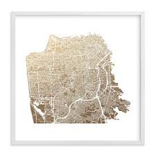 san francisco map framed san francisco map foil pressed wall by alex elko design minted