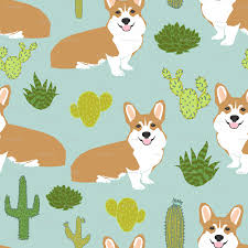 cute scarecrow wallpaper corgi cactus cute dogs dog sweet pet dogs mint fabric wallpaper