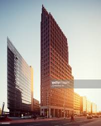 modern buildings at potsdamer platz with sunlight stock photo