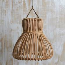 Wicker Light Fixture by Handwoven Rattan Bell Lighting