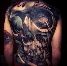horror 3d skull on back