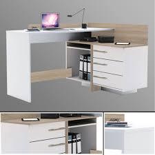 Pc Tisch Eck Schreibtisch 881 Sonoma Eiche Weiß Computertisch