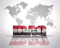 Iraq On World Map Word Iraq With Iraqi Flag On A World Map Background Stock Photo