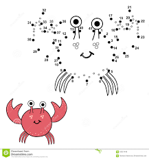 connect the dots to draw the cute crab and color it stock vector