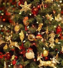 gold tree decorations happy holidays