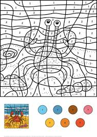 crab color by number coloring page from color by number worksheets