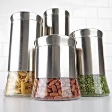 kitchen canisters stainless steel ksp silo flared canister set kitchen stuff plus