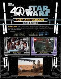 40th anniversary plates topps wars 40th anniversary trading cards