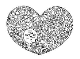 heart with pattern coloring page for kids for girls coloring