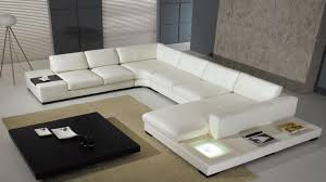Cool Side Tables U Shaped White Leather Sofa With Coach Built In White Leather Side