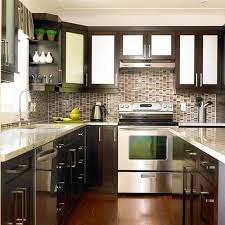 two tone kitchen cabinet ideas showing white and dark brown wooden