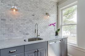 Mini Brick Marble Kitchen Backsplash Tiles Design Ideas - Marble backsplash tiles