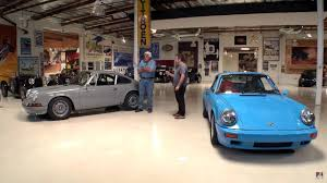 porsche garage jay leno appreciates pair of 1970s porsche 911 restomods