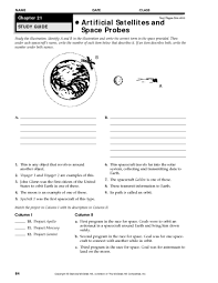 artificial satellites and space probes 9th 12th grade worksheet