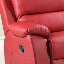 Real Leather Recliner Sofas by Cameo Vibrant Red Leather Fully Reclining Sofa Collection