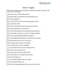 Anger Management Worksheets For Identify Anger Triggers Anger Management Therapy
