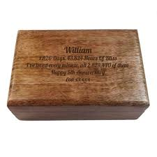 5th wedding anniversary gifts for personalised wooden oblong keepsake box