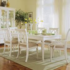 light 6 piece round dining room set in white painted beyond stores