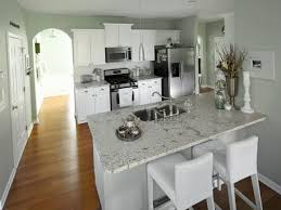 White Kitchen Cabinets With Gray Walls Neutral Granite Countertop Colors For Narrow Kitchen Layout With