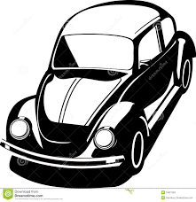 volkswagen van drawing het zwarte insect van volkswagen stock fotografie afbeelding