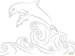 dolphins jumping out of water coloring page free printable