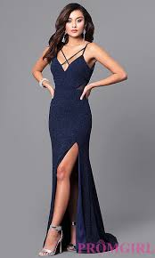 blue dress open back navy blue glitter prom dress promgirl